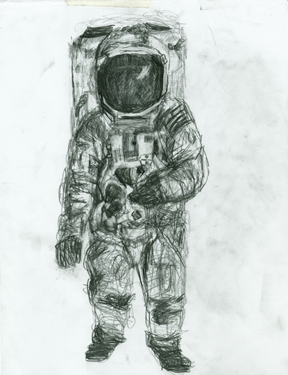 Astronaut Drawing Works on paperRetro Astronaut Drawing